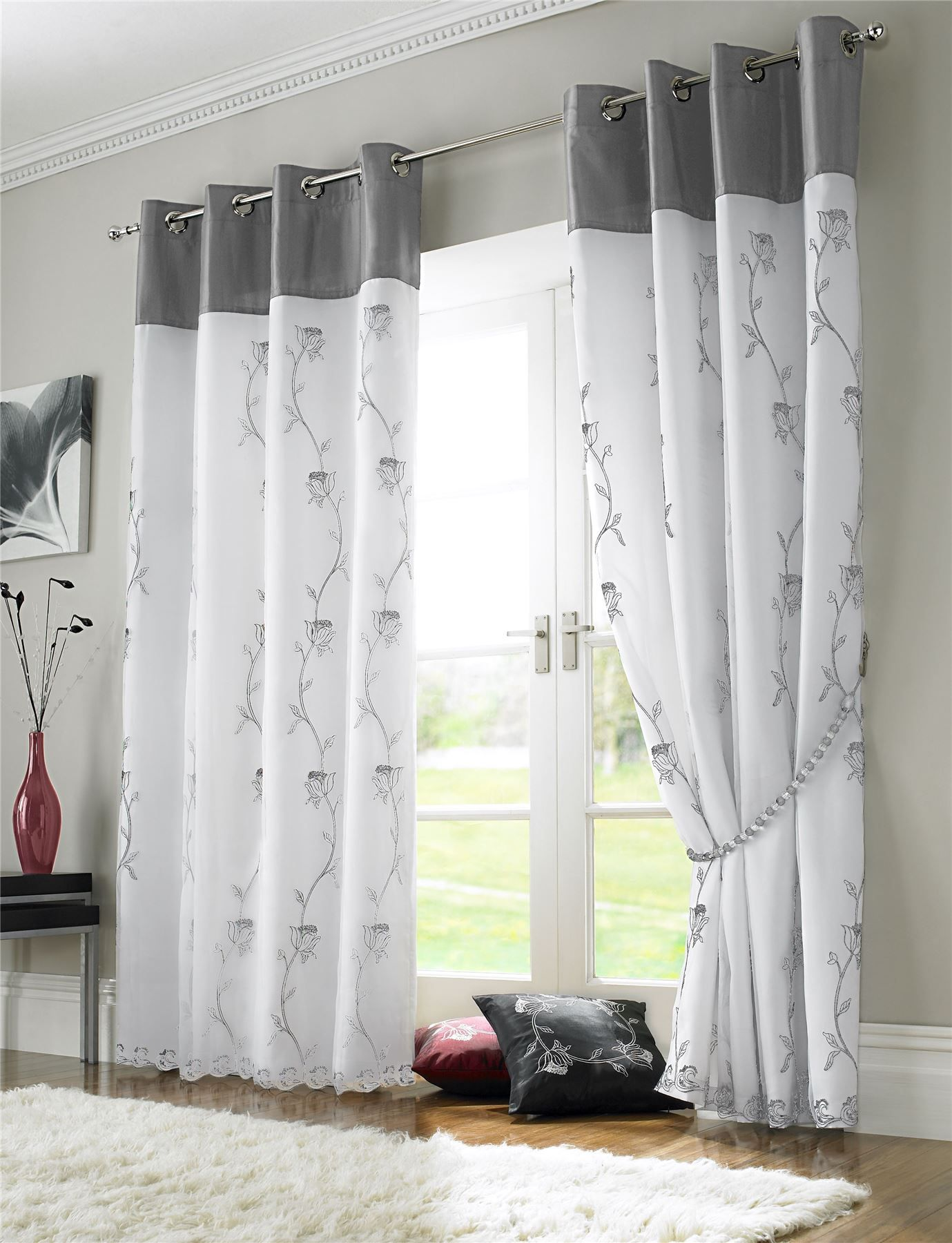 Silver Grey White Fl Rose Trail Lined Voile Ring Top Curtains 3 Sizes