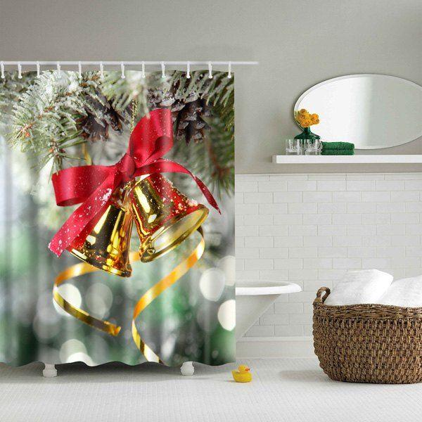 Bell Decor Bathroom Mildewproof Waterproof Christmas Bell Shower Curtain