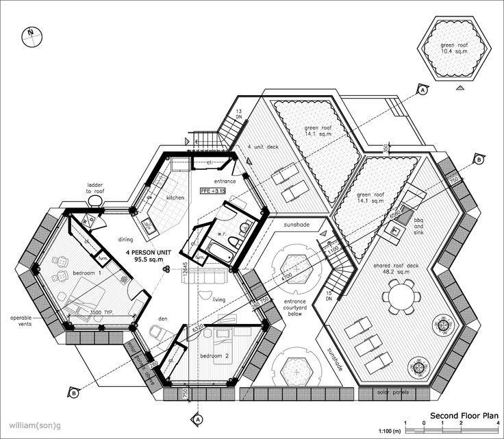 Hexagon house grand designs google search m jas for Hexagon deck plans