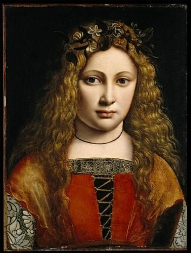 Portrait of a Youth Crowned with Flowers c.1495, by Giovanni Antonio Boltraffio.  Portrait alleged to be of Anne Whateley (in fact likely to be Girolamo Casio)