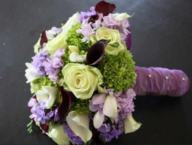 Bridal Bouquet White Purple Green