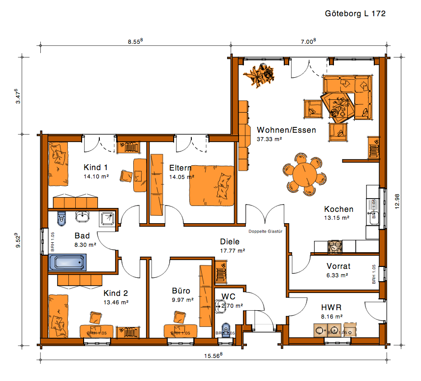L 172 Haus grundriss, Haus planung, Haus bungalow