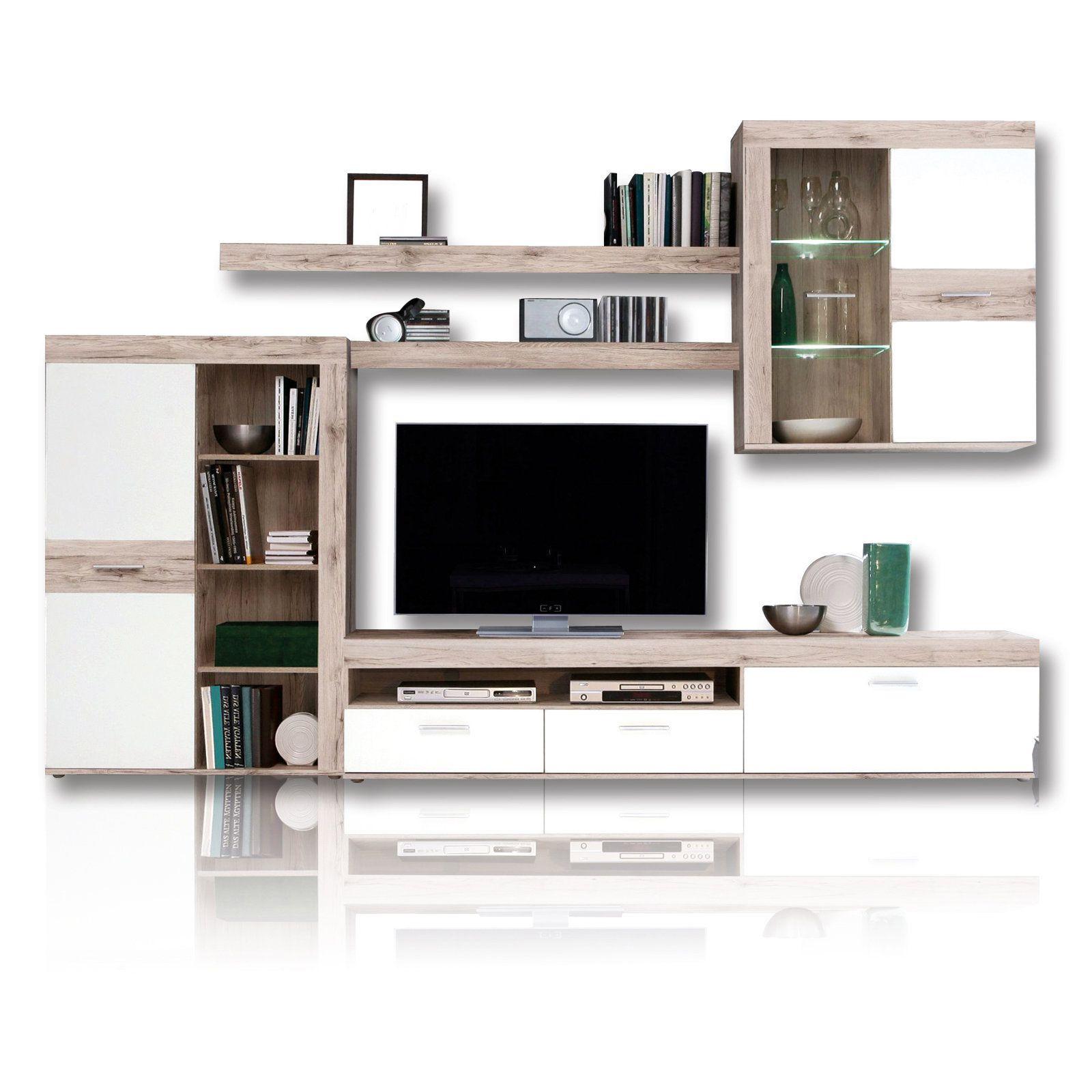 Wohnwand Zumba Led Beleuchtung Sandeiche Home Furniture