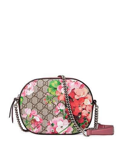 ae78e7d323c Gucci Blooms GG Supreme Mini Chain Crossbody Bag