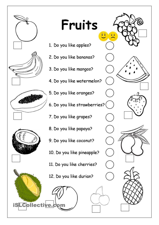 Do you like apples? FRUITS worksheet Ingles para