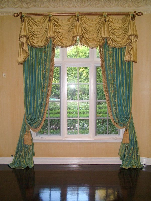 Swag Aka Kingston Valance With Bell Jabots And Cascades Tab Top Style Ted Onto A Wood Pole 1 2 Width Drape Panels On Each Side