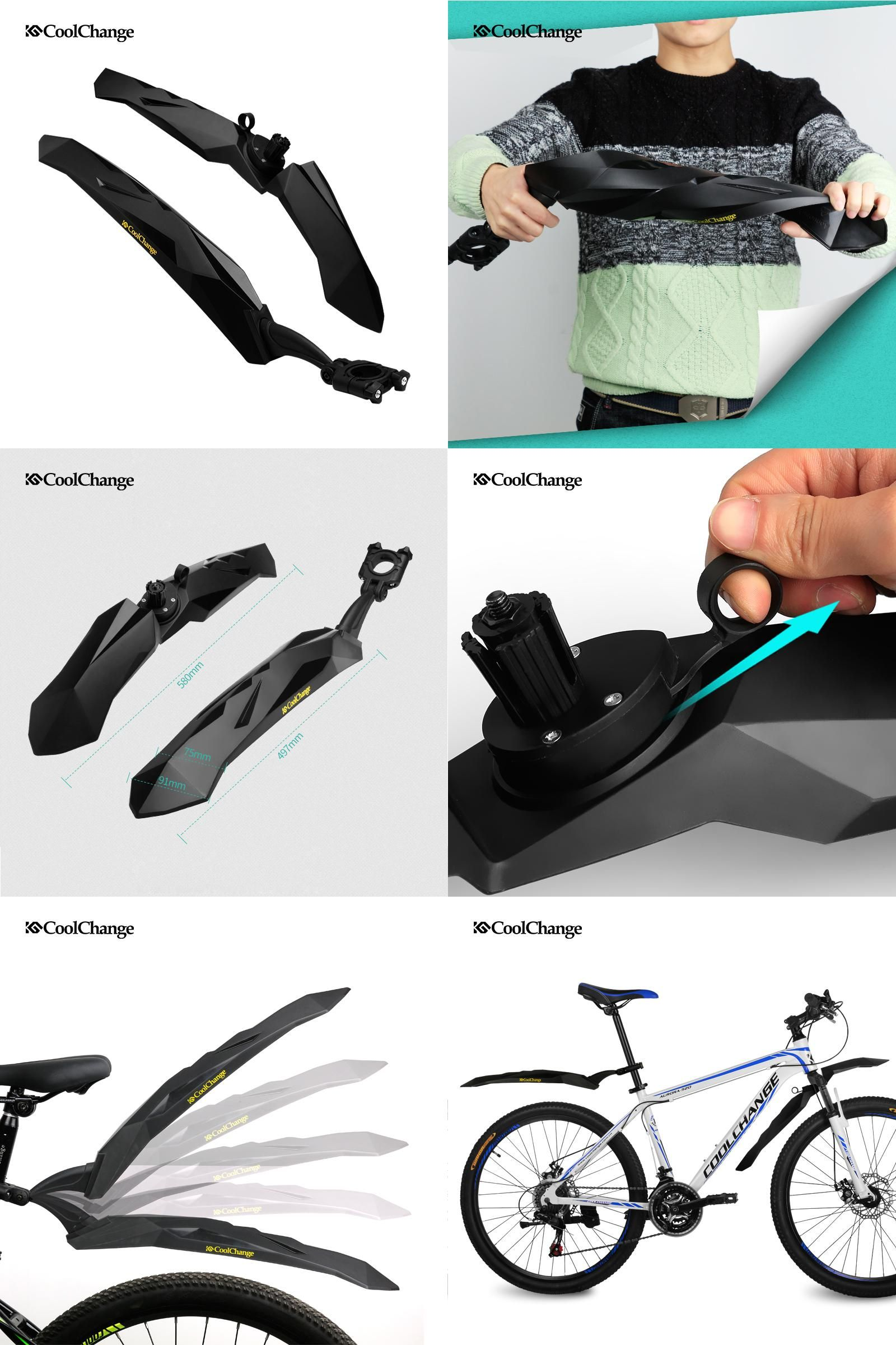1a3154e4225 [Visit to Buy] 2017 CoolChange Bike Fender Parts 26 Bicycle MTB Front Rear Fenders  Cycling Flectional Mountain Mud Road Mudguard Accessories #Advertisement