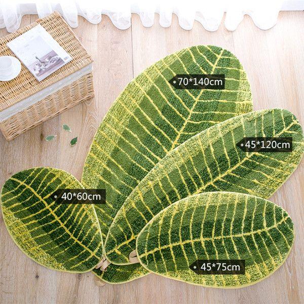 Green Leaf Shape Floor Mat Soft Doorway Bedroom Kitchen Area Rugs