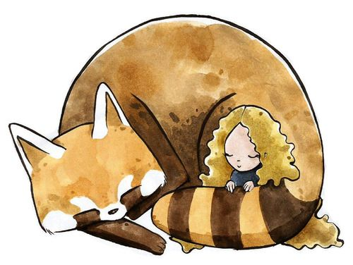Sleeping with a Red Panda By Cristiana Palestini. Watercolors and Ink on copy paper. #Cute #Kawaii #Goodnight http://www.facebook.com/CricaIllustrations/