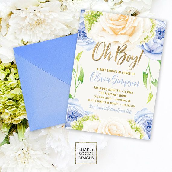 Blue Floral Baby Shower Invitation  Oh Boy ItS A Boy Roses