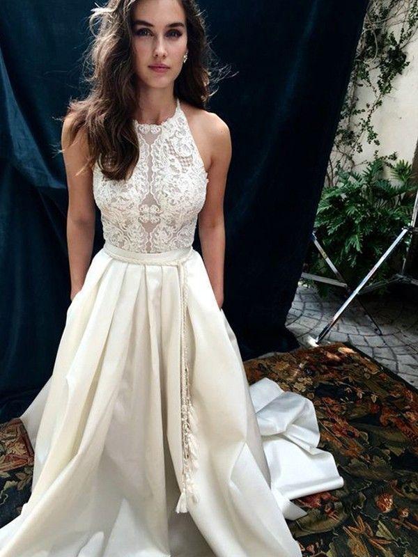 Photo of 2019 A-Line Satin Lace Halter Sleeveless Brush Train Wedding Dresses