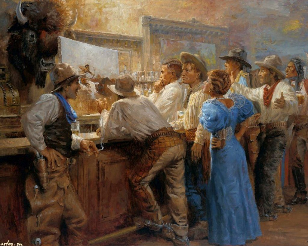 Image result for paintings and illustrations of a Western saloon with singer