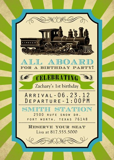Printable train birthday by SongbirdGreetings on Etsy, $20.00