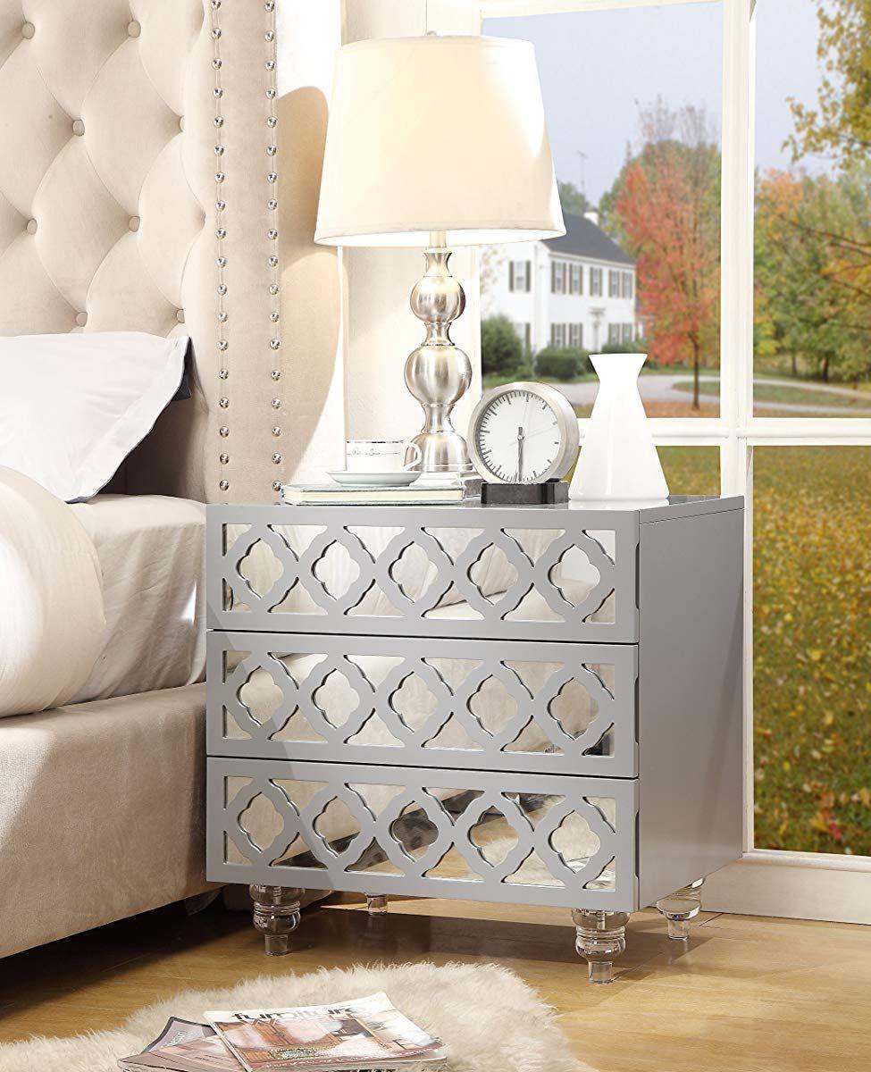 Inspired Home Pablo Light Grey Glossy Nightstand 3 Drawer