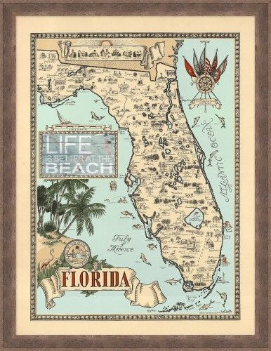 Palm Island Blue Home Vintage Florida Map Framed Art One Size