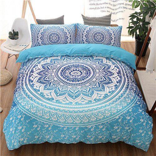 Bohemian Bedding Sets Mandala Printing Blue Black White Boho Single Double Queen King Size Duvet Cover Set Purple Bedding Sets Boho Bedding Sets Bedding Sets