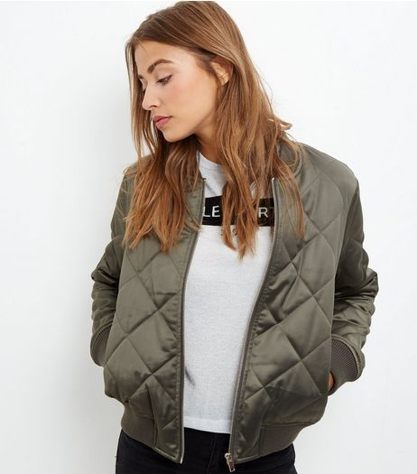 Khaki Diamond Quilted Bomber Jacket | New Look - Khaki Diamond Quilted Bomber Jacket New Look August 2016