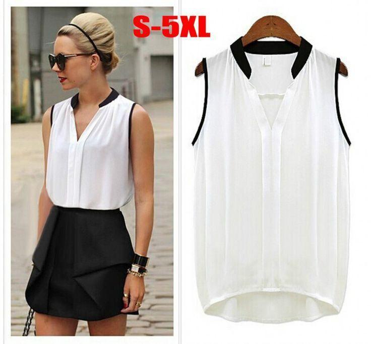 a73c146a4 blusas femininas sem manga de chiffon branca com preta ...