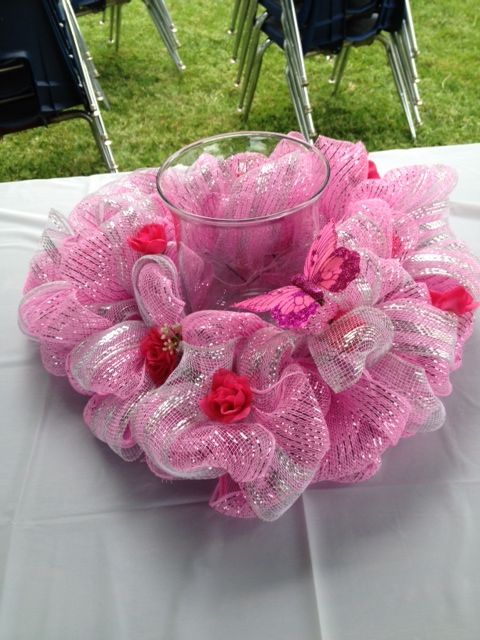 Pink Centerpiece Coupon : Pink candle centerpiece made from ribbon and deco mesh