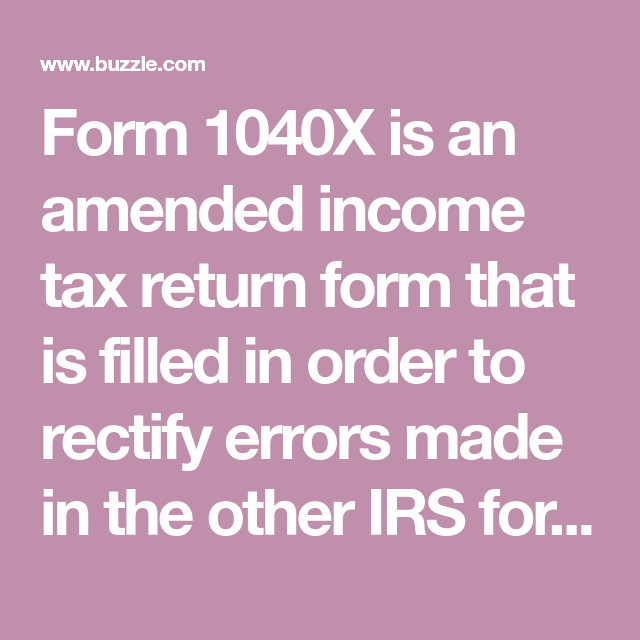 Instructions To Fill Out Form 1040x Irs Forms