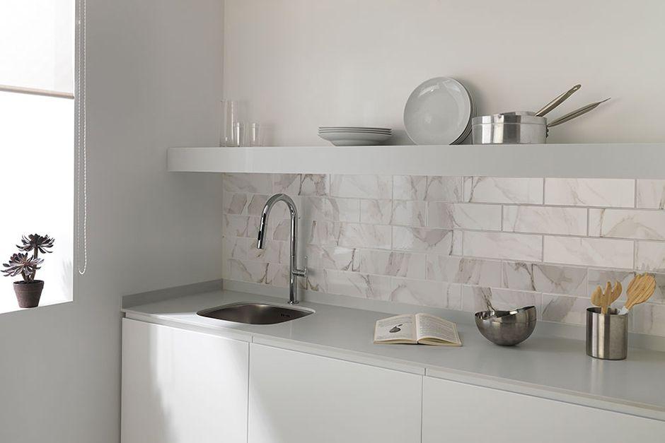 Backsplashes Porcelanosa Contemporary Backsplash White Kitchen Tiles Oak Cabinets