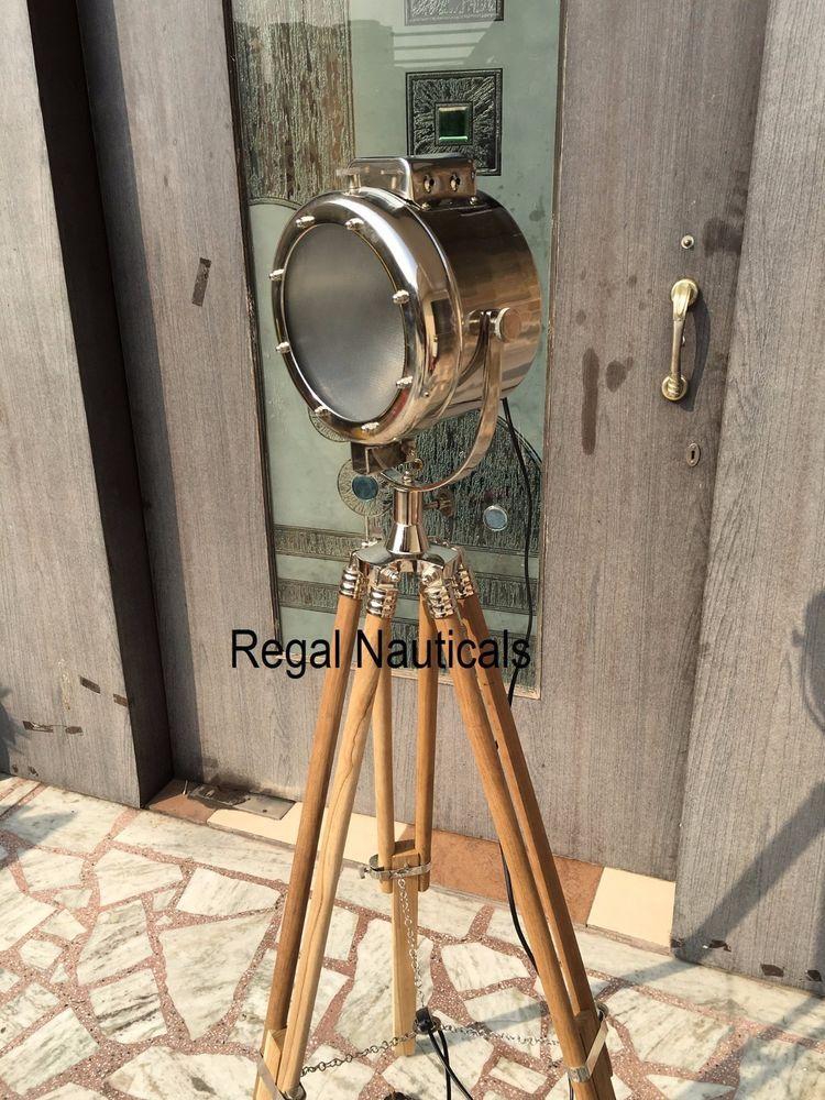 Vintage Industrial Designer Chrome Nautical Spot Light Tripod Floor Lamp Decor 696391929275 Ebay Tripod Floor Lamps Tripod Floor Lamp Decor Floor Lamp