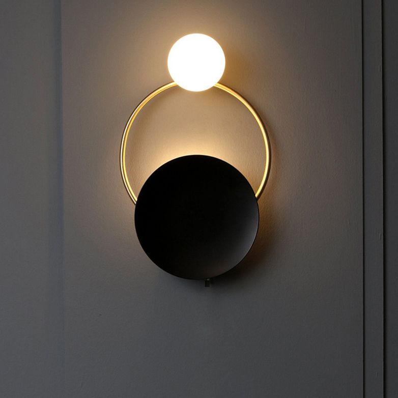 Black And Gold Finish Modern Led Wall Light With Ring Circle And Glass Shade Wall Lights Modern Wall Lamp Globe Sconce Brass Wall Sconce