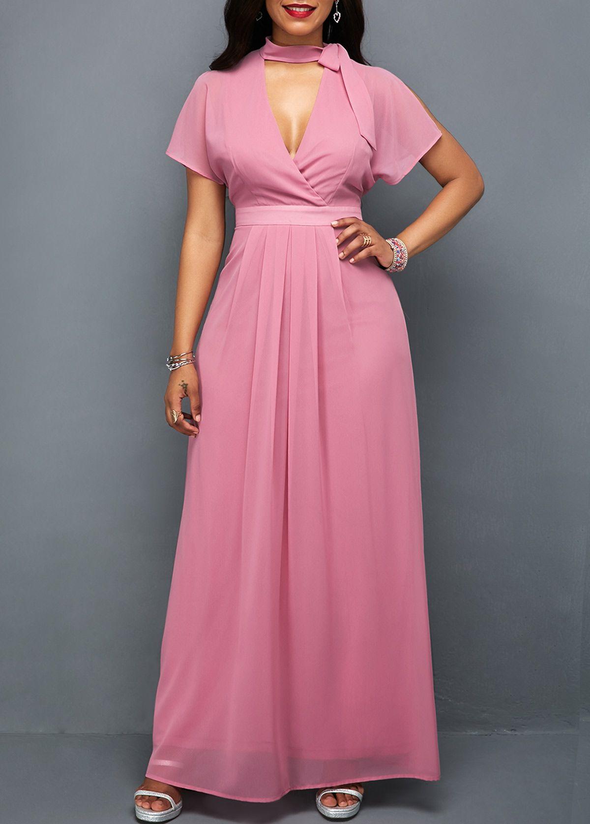 High waist choker neck pink dress usd 33
