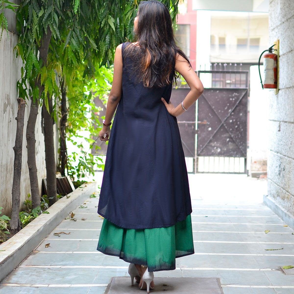 Dark green u black layered ombre dress with pockets artisan works