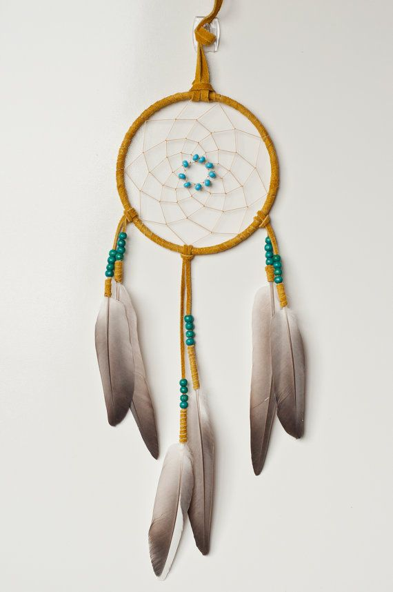 Tan Suede Dream Catcher With Grey Wing Pigeon Feathers Diy Decor
