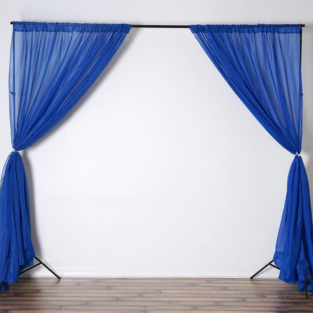 Pack Of 2 5ftx10ft Royal Blue Fire Retardant Sheer Organza Premium Curtain Panel Backdrops With Rod Pockets Panel Curtains Backdrops Curtains