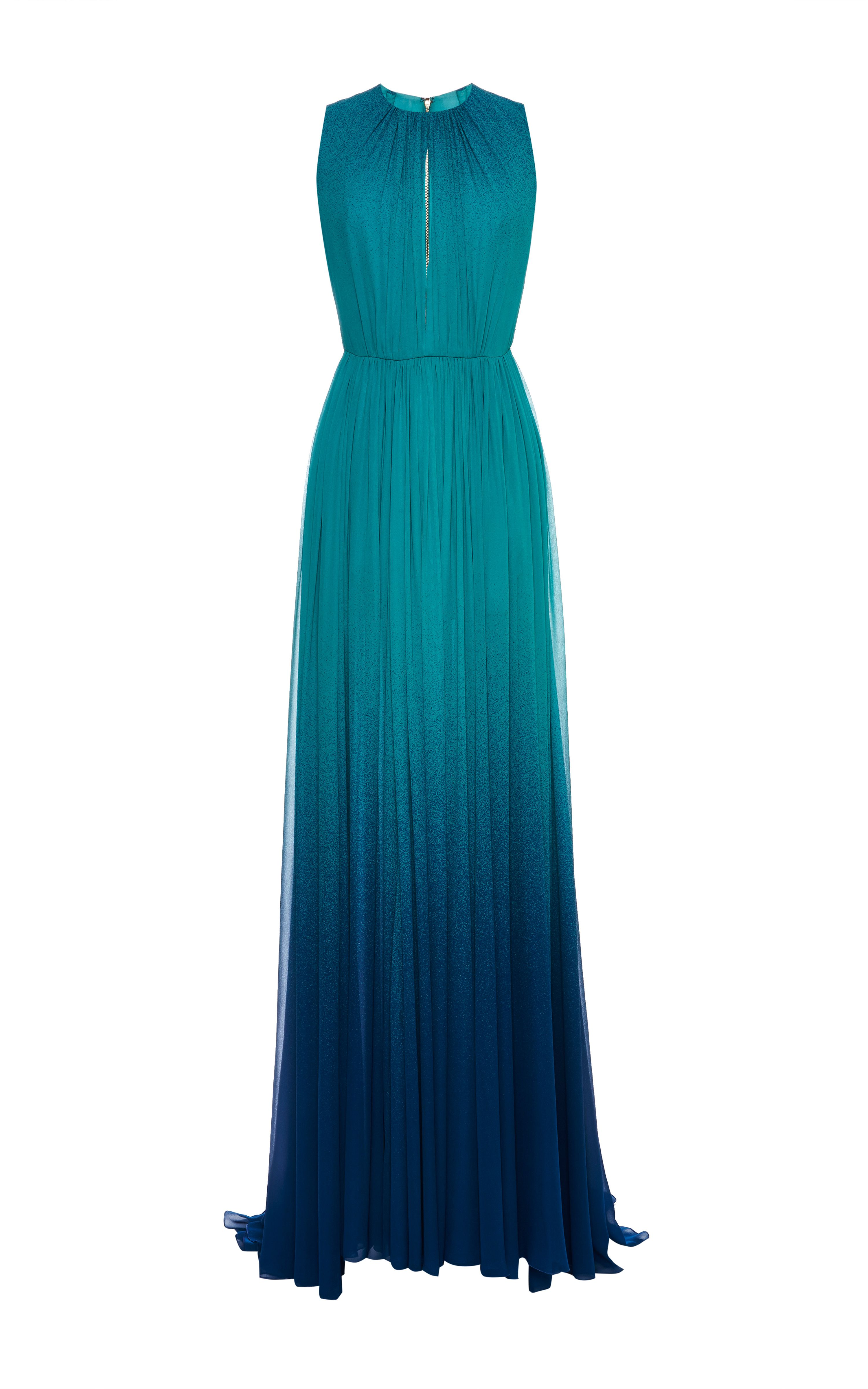 Turquoise Degrade Silk Georgette Dress by Elie Saab for Preorder on ...