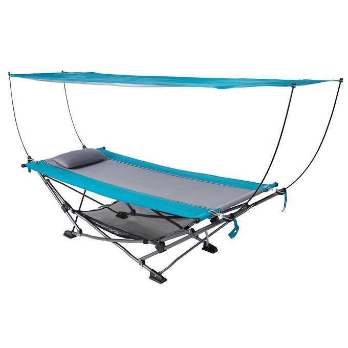 Portable Fold Up Hammock Removable Canopy Carry Case Pillow Sports Outdoor C&ing  sc 1 st  Pinterest : hammock with canopy and stand - memphite.com