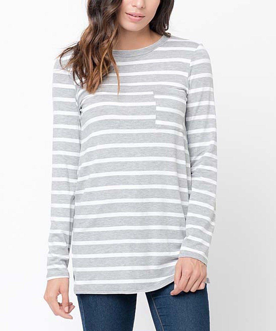 Caralase Heather Gray Stripe Long-Sleeve Pocket Tunic by Caralase #zulily #zulilyfinds