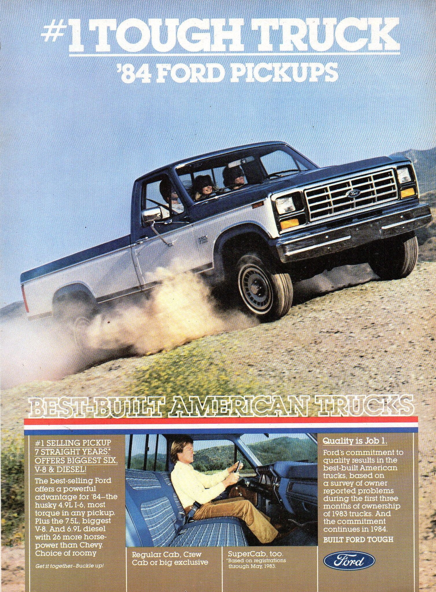 1984 Ford F Series Regular Cab Crew Cab SuperCab Pickup Trucks USA Original Magazine Advertisement