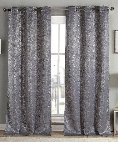 Gray Metallic Maddie Blackout Curtain Panel Set Of Two Panel