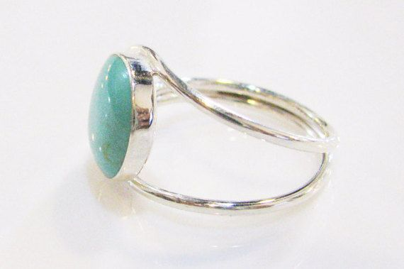 Turquoise ringSterling silver ringAdjustable by IrisSilverJewelry