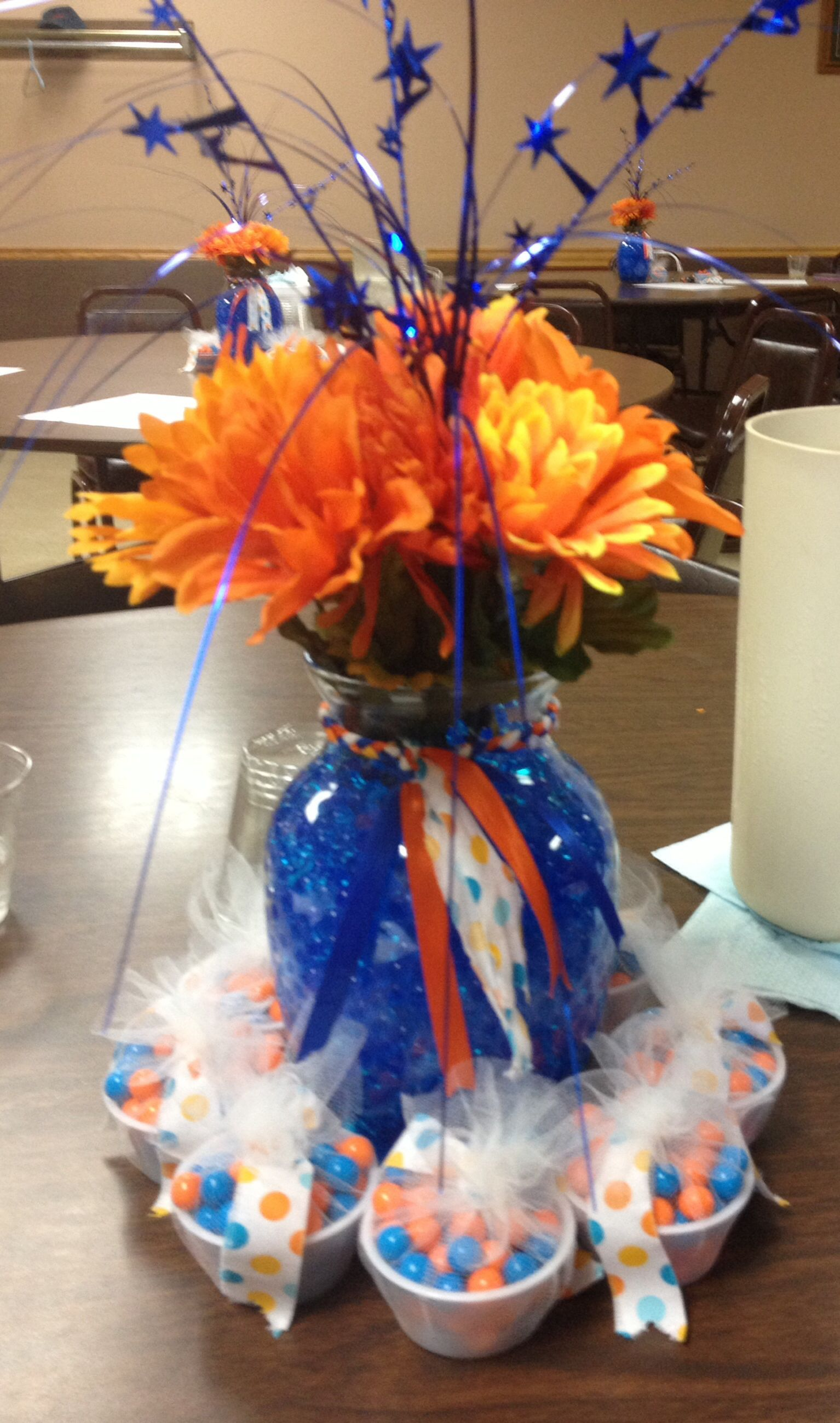 Royal blue and orange bridal shower centerpieces