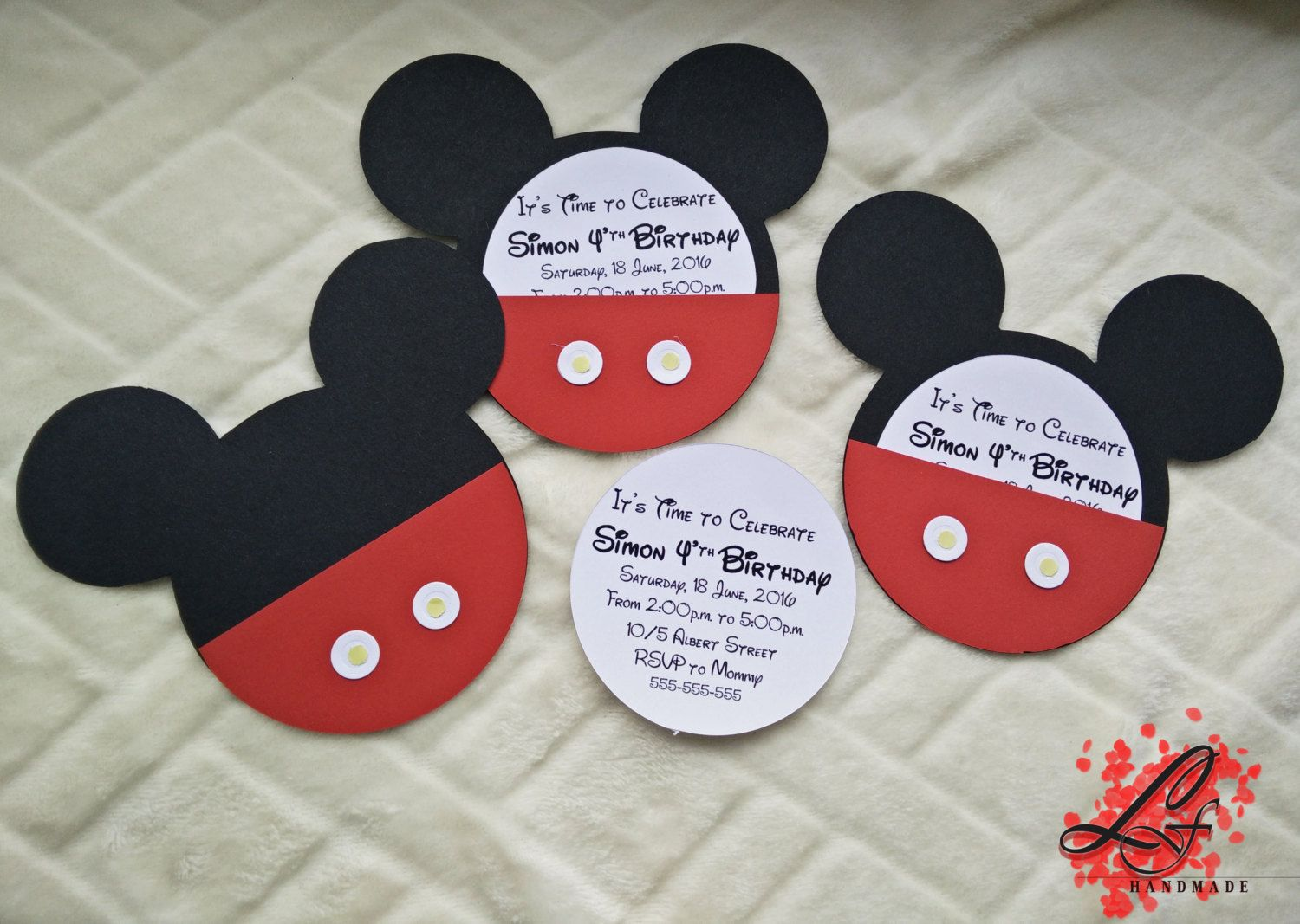 Custom Handmade Mickey Mouse Birthday Christening invitation by – Handmade Mickey Mouse Birthday Invitations