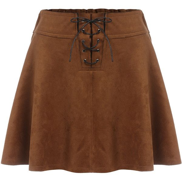 Lace Up A Line Khaki Skirt (€13) ❤ liked on Polyvore featuring skirts, khaki, short khaki skirt, brown suede skirt, knee length skater skirt, short brown skirt and suede a line skirt