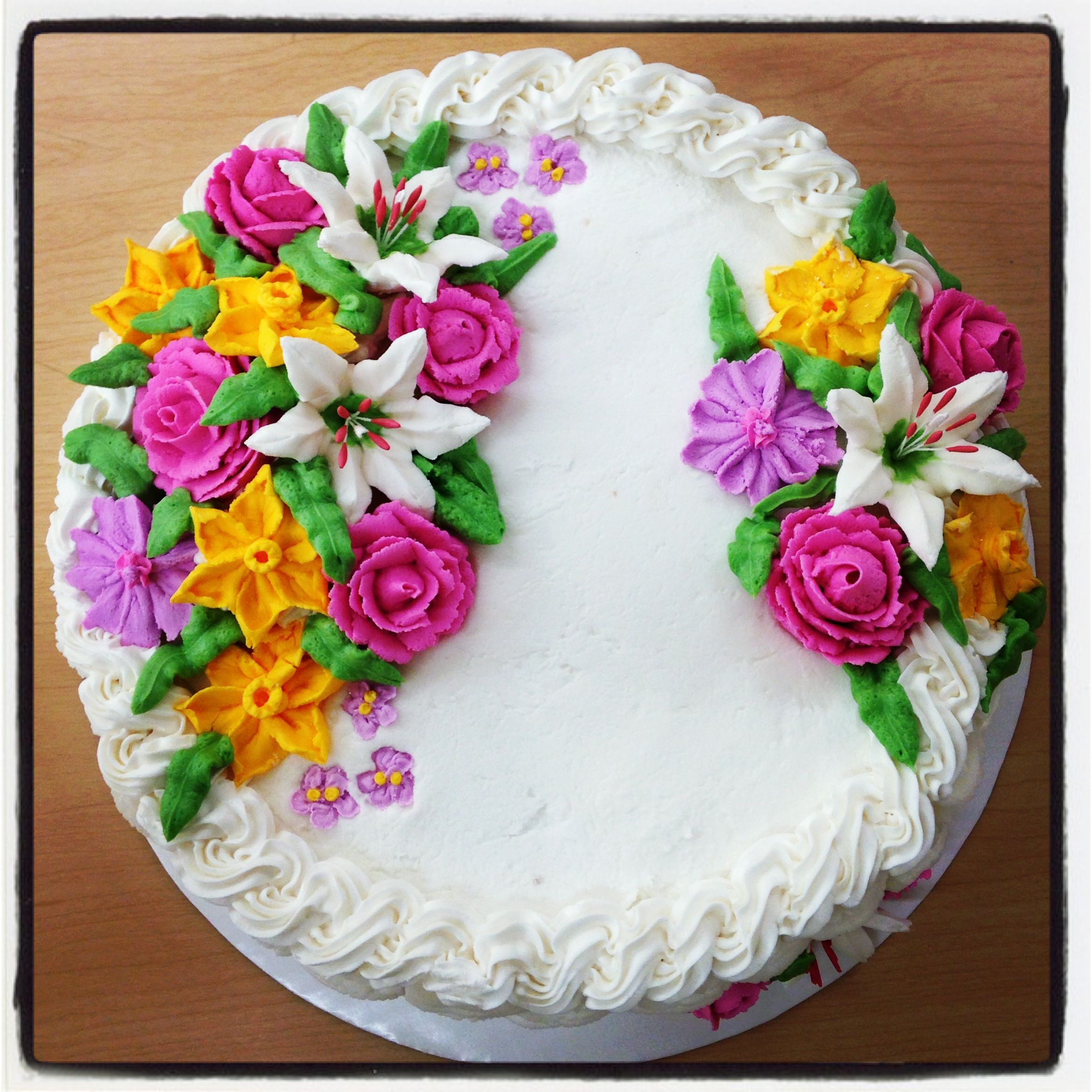 Buttercream Basket Weave Cake With Royal Icing Flowers