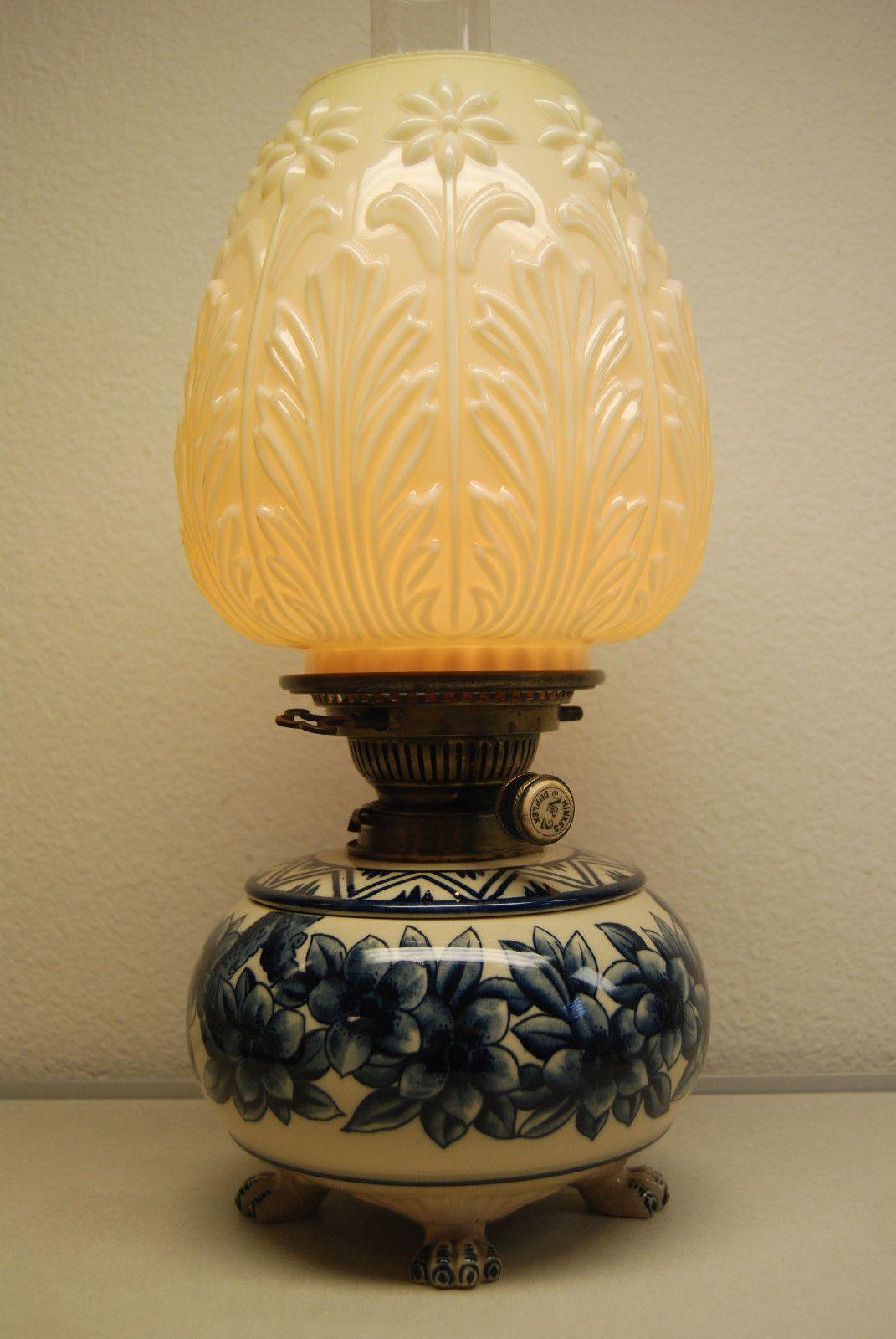Antique Old English Porcelain Oil Kerosene Pottery Art Nouveau Arts Crafts Lamp Ebay Antique Oil Lamps Lamp Oil Lamps