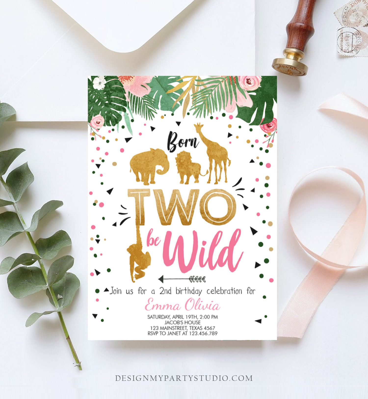 Editable Born Two Be Wild Birthday Invitation Girl Animals