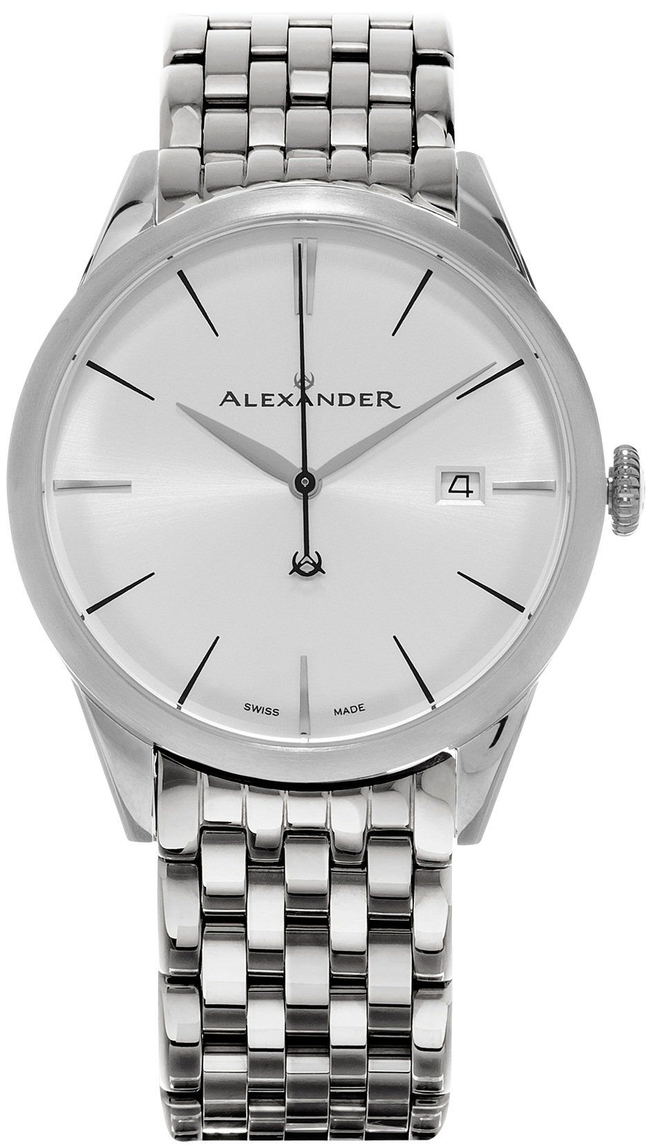 Alexander heroic sophisticate wrist watch for men silver white