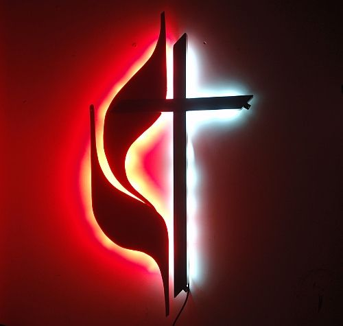 United Methodist Church Logo Sign And Lettering United Methodist Flame And Cross Design Church Logo Design Church Logo Led Wall Art