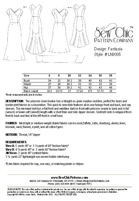 Vintage 1930s Dress Sew Chic Sewing Pattern LN9005 Fantasia | sy ...