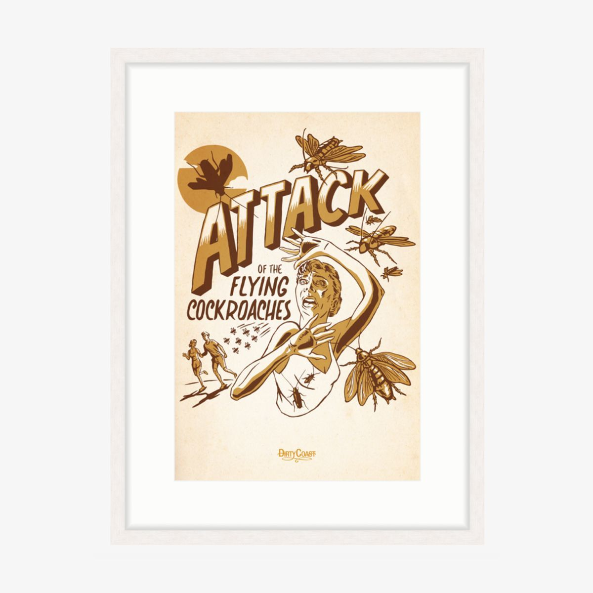 Attack Of The Flying Cockroaches - Framed Print
