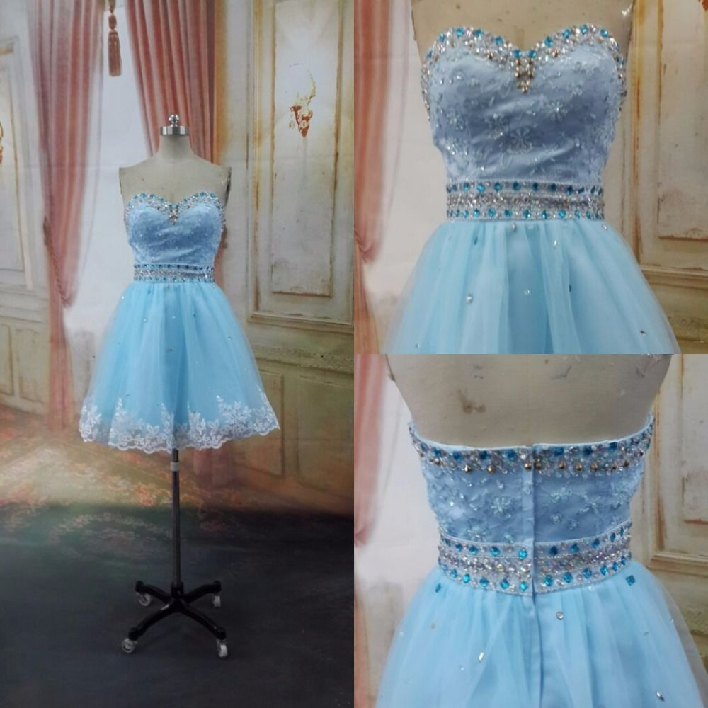 Click to buy ucuc real light blue juniors short cocktail party dresses
