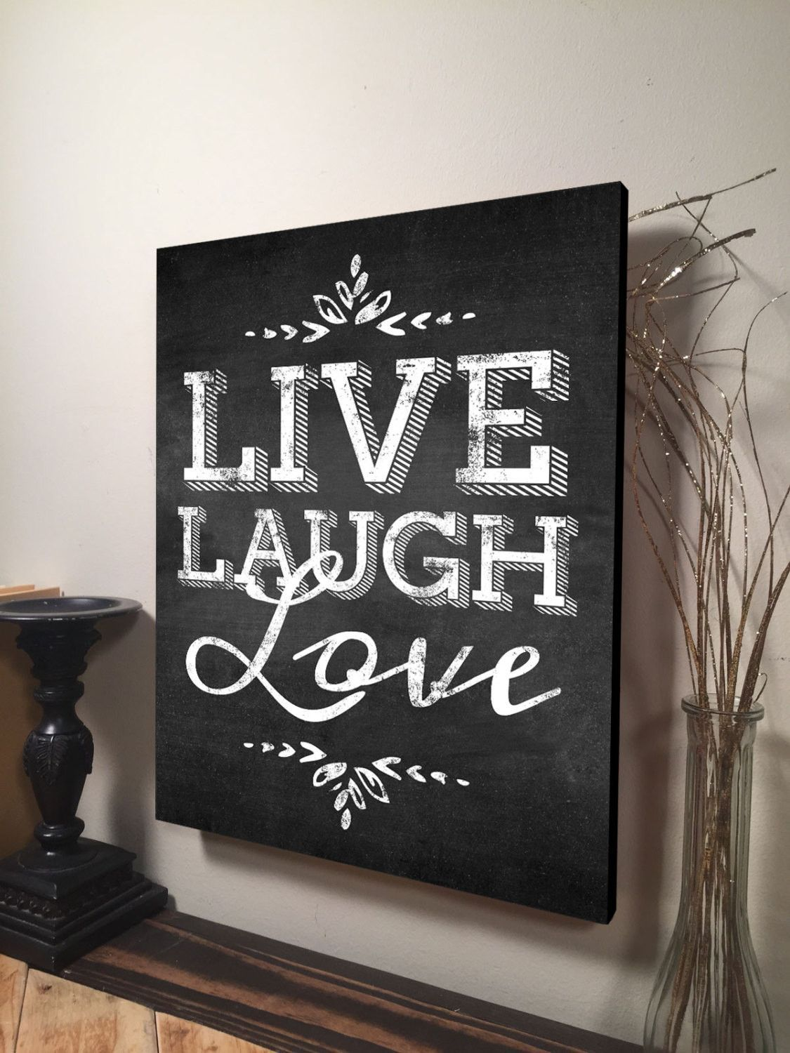 Live Laugh Love Wall Art Inspirational Quote Home Decor Canvas