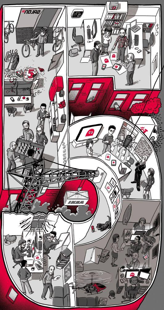 Wimmelbild von Malte Knaack für die Digitalagentur Salon91